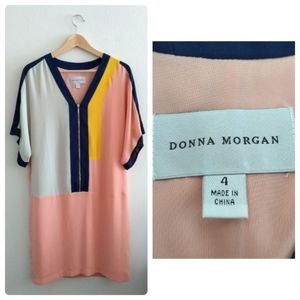 Donna Morgan Zipper Front ColorBlock Shift Dress